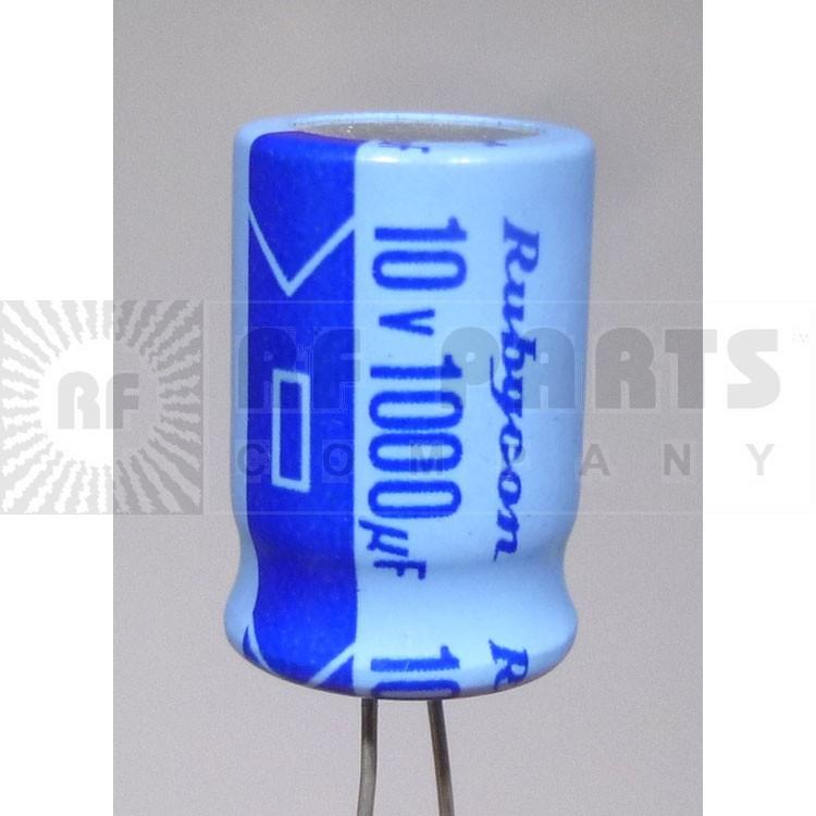 RAD1000-10 Capacitor, elec. 1000uf 10v, Rubycon
