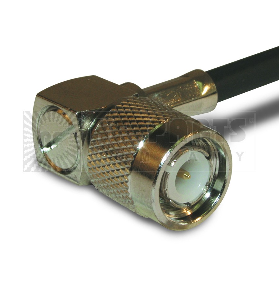 122140 TNC Male Crimp Connector, Right Angle, Knurled Nut, APL/CON