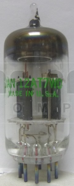 12AT7WC-GE Tube, High Frequency Twin Triode, JAN/GE 5960-0521 / 5960-00-179-4446