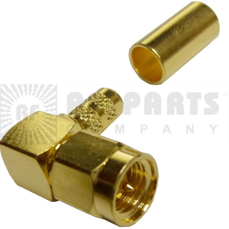 132122 - SMA Male Right Angle Crimp Connector, APL/CON
