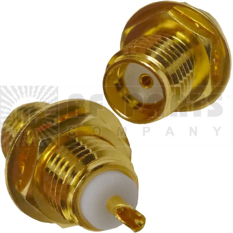 132137 - SMA Female Bulkead Connector, Straight, Bulkhead w/Solder Cup, APL/CON