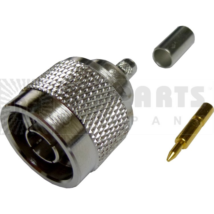 172142 - Type N Male Crimp Connector, Straight, Knurled Nut, APL/CON