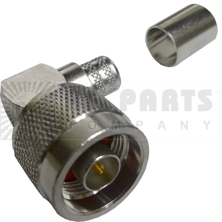 172176 - Type-N Male Right Angle Crimp Connector, Right Angle, Knurled Nut, APL/CON