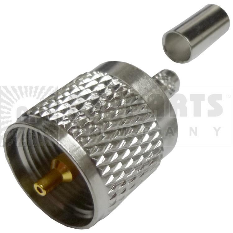 182100 - UHF Male(PL259) Crimp Connector, LMR195/RG58, Amphenol/connex