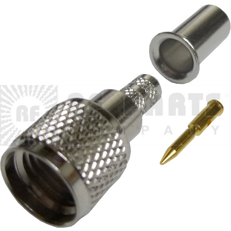182110 - Mini-UHF Male Crimp Connector, Straight, Knurled Nut, APL/CON