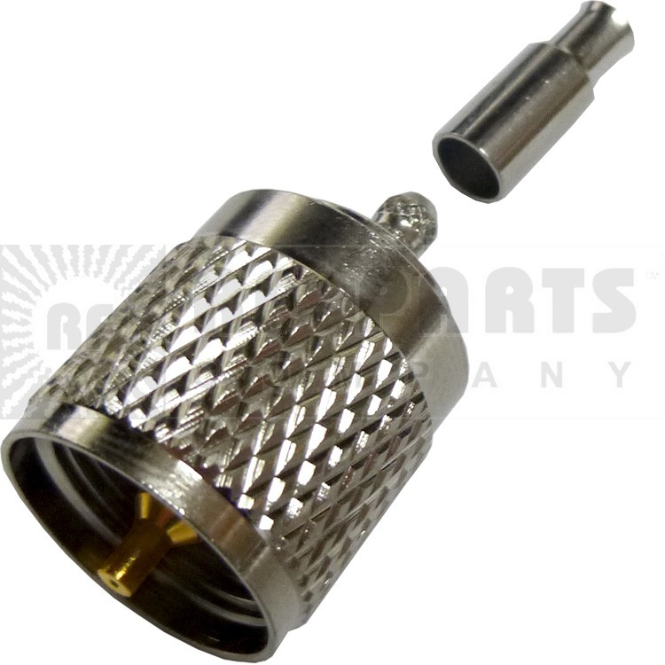 182330 - UHF Male Crimp Connector,  (PL259 Type), Straight, Knurled Nut, APL/CON