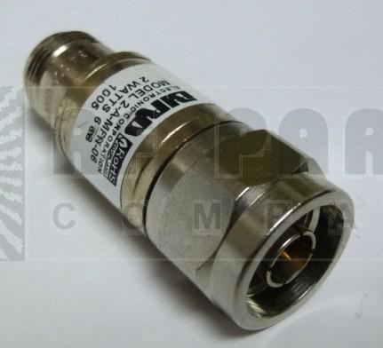 2-A-MFN-6-1 Attenuator, Type-N, 2 Watt, 6dB, DC-4 GHz, Bird (Clean Used)