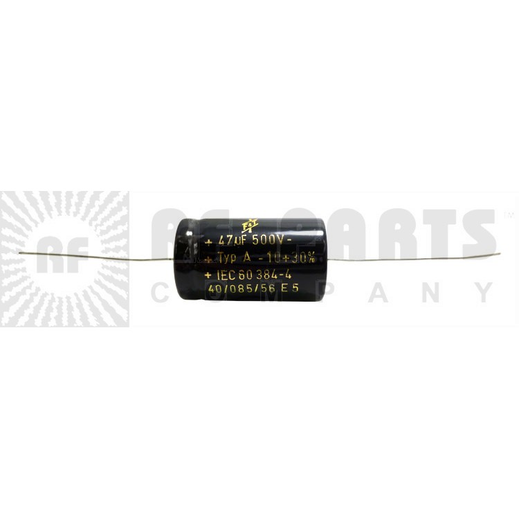 47-500 Capacitor, electrolytic, 47uf 500v axial leads, F & T (47-450)
