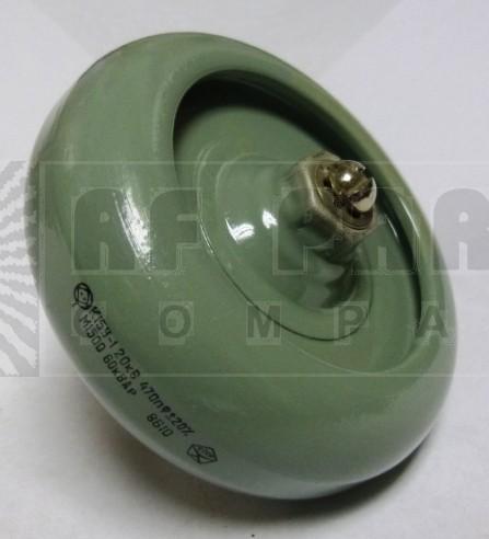 470-20  Doorknob Capactior,  470pf 20KV, 20%, Russia