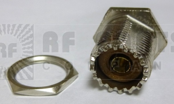 83-878 UHF Female Rear Mount Bulkhead Chassis Mount Connector, (SO239) w/Solder Cup, APL/RF