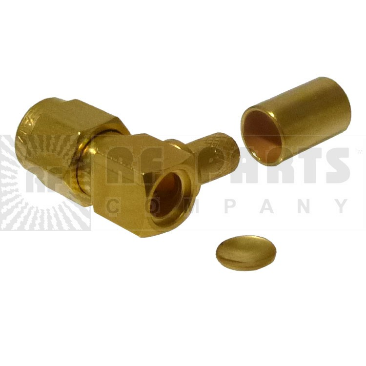 901-9531-2  SMA Male Crimp Connector, Right Angle, Hex Nut (Industrial Grade), APL/RF