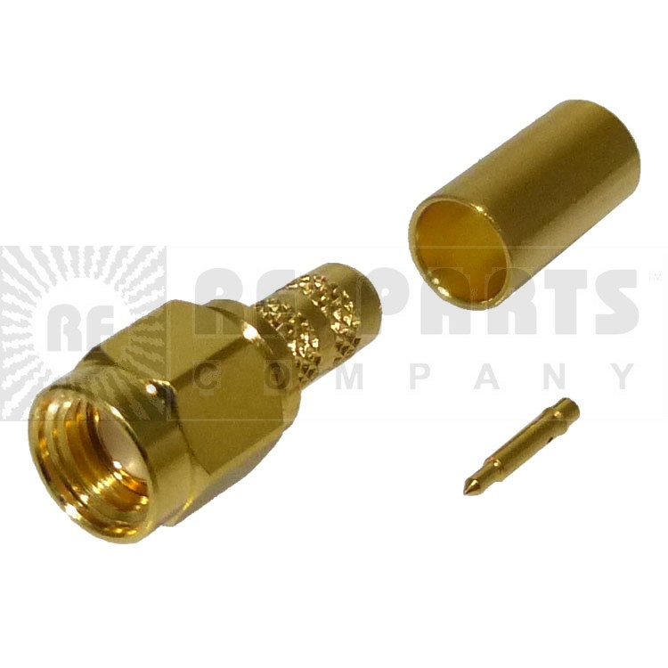 901-9870 SMA Male Crimp Connector, Straight; Hex Nut, AMP/RF
