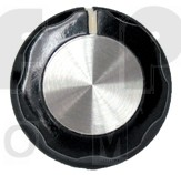 KNOB2A Tuning knob, black w/skirt, Chrome cap & white pointer