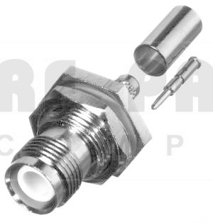 RP1212-C Connector, TNC Reverse Polarity, Female Bulkhead Crimp, RFI