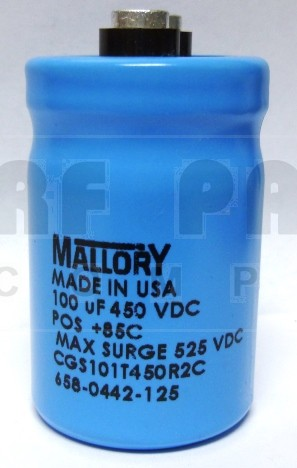 CGS101T450 Capacitor, 100uf 450v, Mallory