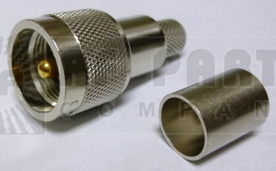 EZ400UM UHF Male Crimp Connector (PL259), Knurled Nut, LMR400, Times Microwave
