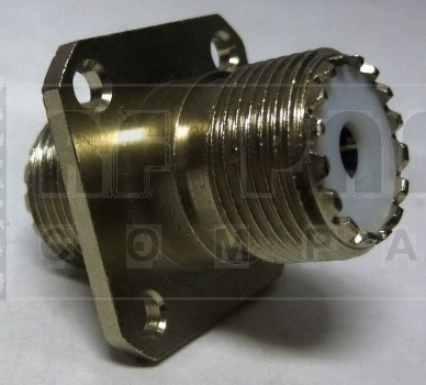 G40004HBN  IN Series Adapter, UHF 4 Hole Flange Chassis Mount,  Female to Female Barrell, GRPR