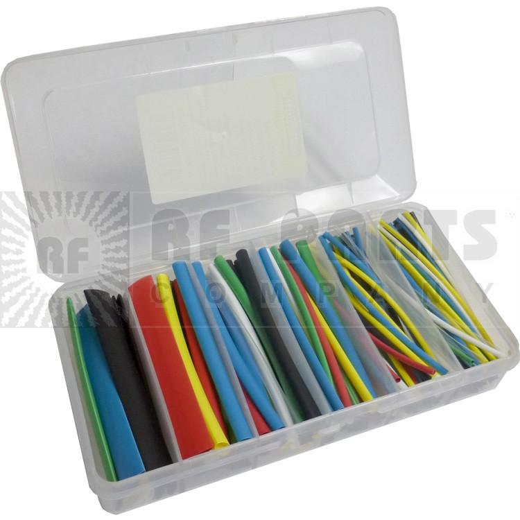 """HST160COLOR Heatshrink Box, Color Box of 160 pcs 4"""" 7 colors"""