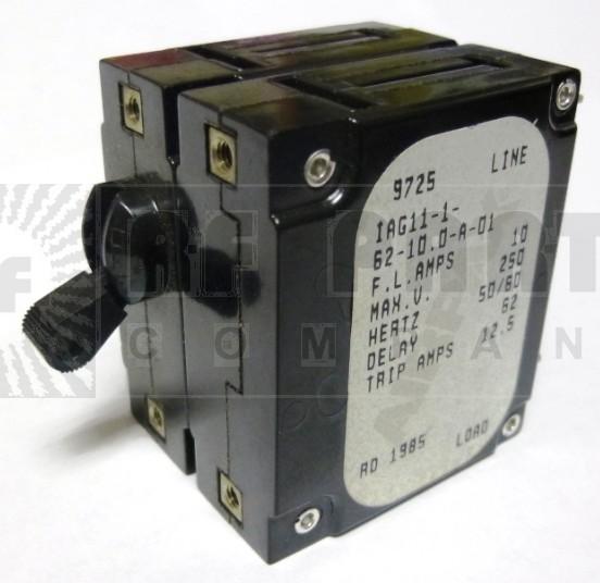 IAG11-1-62-10 Circuit Breaker, Dual AC, 10a, Airpax