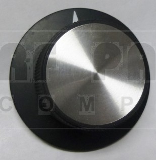 KNOB12M  Tuning Knob with Skirt, Black & Chrome, Matte finish