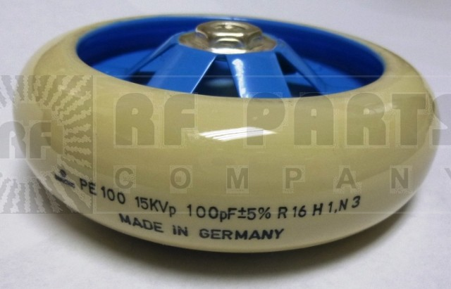 PE100-100-15  Doorknob Capacitor, 100pf, 15kvp, Vishay/Draloric