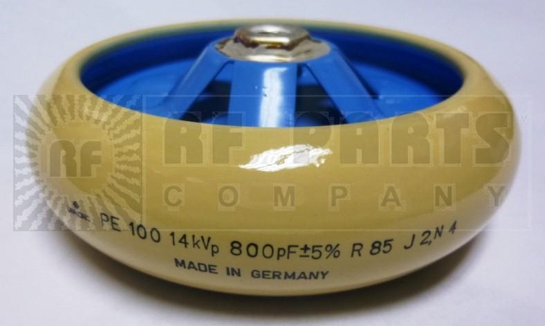 PE100-800-14  Doorknob Capacitor, 800pf, 14kvp, Vishay/Draloric