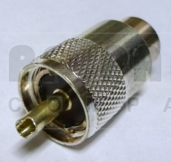PL259A-2 UHF Male Solder Type Connector,  Straight, Knurled Nut, USA