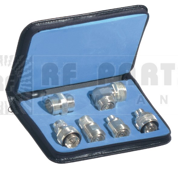 P2RFA4013-SS   7/16 DIN Adapter Kit, 6 pieces, Low Pim, White Bronze w/Stainless Coupling Nuts,  w/Case