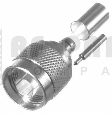 RFN1005-2N Type-N Male Crimp Connector RG58/LMR195 nickel plated, RFI