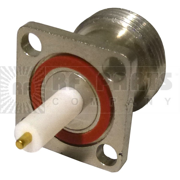 RFPNF-TEF Connector, Type-N Female Panel Mount, Mini 4 hole flange w/Post Terminal/teflon ext. .500, RFP