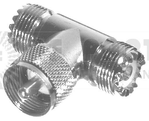 RFU533  IN Series TEE Adapter, UHF Male(PL259) to Double Female(SO239),  RFI