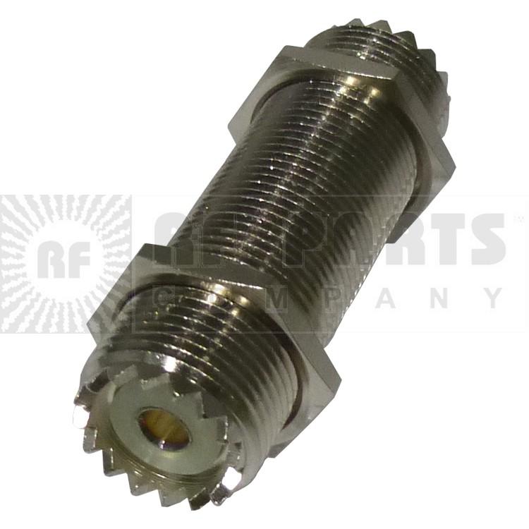 RFU537 IN Series Adapter, UHF Female to Female Threaded Barrel (SO239), 2 Inch,  RFI