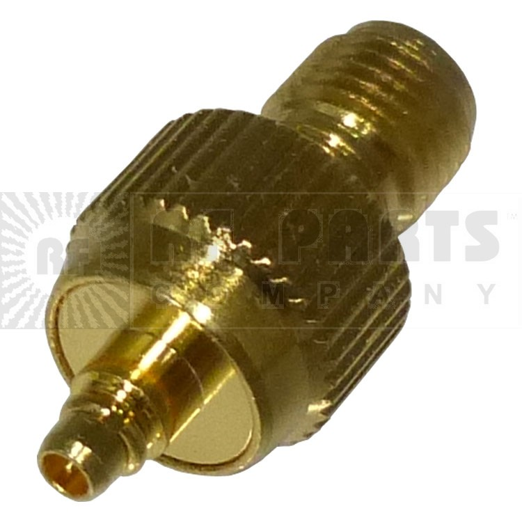 RP3408-1 Reverse Polarity Between Series Adapter, RP SMA Female to MMCX Female, Gold, RFI