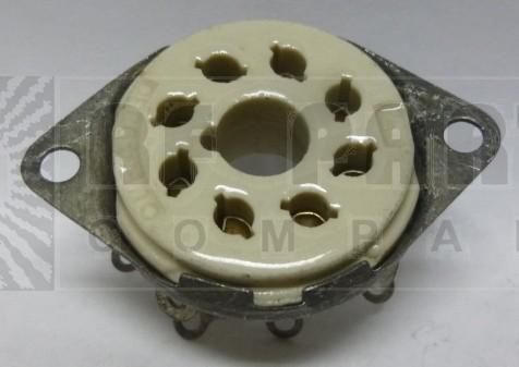 SK8F Socket, octal, ceramic, Mil spec, silver pins.