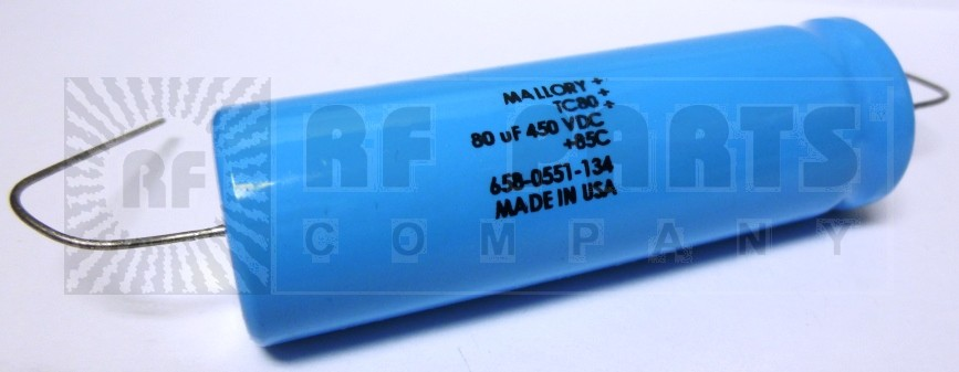 TC80 Capacitor, 80uf 450v, Axial Lead, Mallory