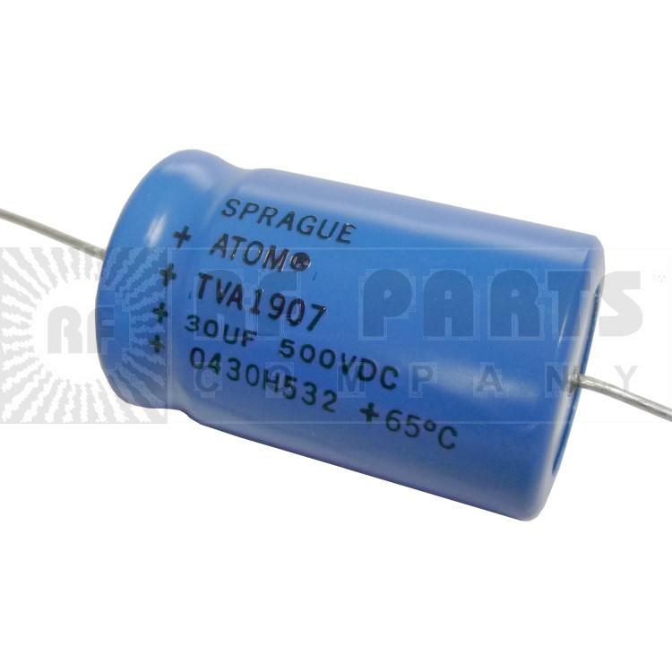 TVA1907 Capacitor, 30uf 500vdc, Sprague electrolytic axial