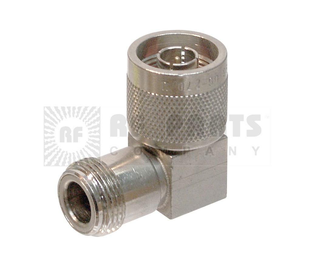 UG27D/U-S  Type-N IN Series Adapter, Male to Female, Right Angle, Square Body,  Silver,  Kings