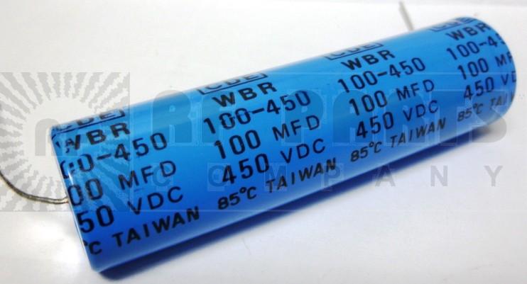 WBR100-450 Capacitor, 100uf 450v axial, CDE