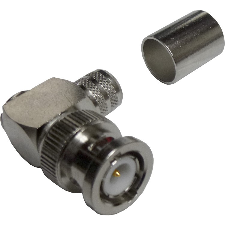 112596 - BNC Male Right Angle Crimp Connector