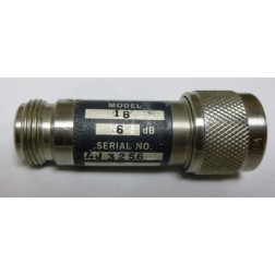 1B-6 Attenuator, Type-N Male/Female, 6dB, 5 Watt, Weinschel (Clean Used)
