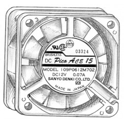 109P0612 Fan, sanyo 12v .07a
