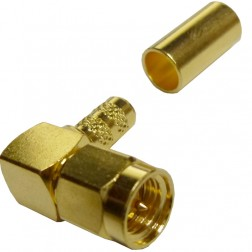 132122 - SMA Male Right Angle Crimp Connector, APL/CON