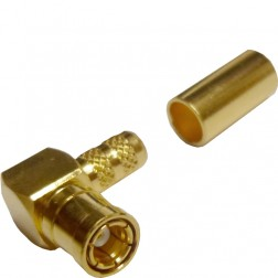 142206 - SMB Male Right Angle Crimp Connector