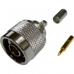 172100 - Type-N Male Crimp Connector, Straight, Knurled Nut, Amphenol/Connex