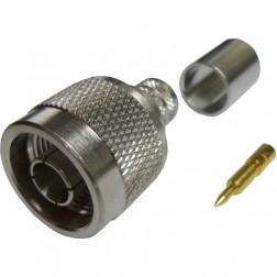 172102 - Type-N Male Crimp Connector,  Straight, Knurled Nut, APL/CON