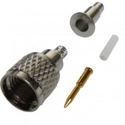 182118 - Mini-UHF Male Crimp Connector, Straight, Knurled Nut, APL/CON