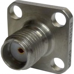 2052-4154-40 SMA Female Chassis Connector, 4 hole Flange w/Teflon Ext.