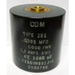 29160B501JO0  Transmitting Mica Capacitor, .0005uf 6kv, 5.1amps, CDM