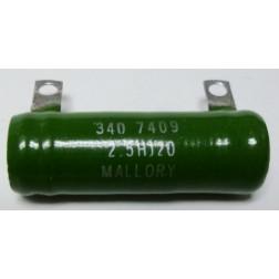 2.5HJ20 Resistor, 20 ohm 25 watt, Mallory