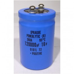 36DA120000-16 Capacitor, computer grade, 120000 uf/16v. mfg: sprague